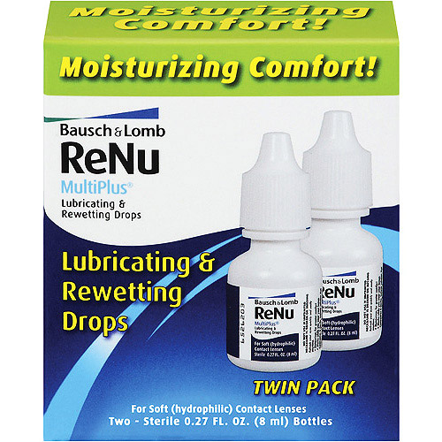 Bausch & Lomb For Soft Contacts Twin Pack Renu Multiplus Lubrication & Rewetting Drops .27 fl oz