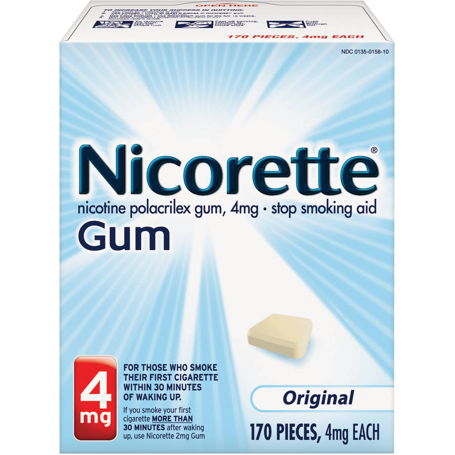 Nicorette Stop Smoking Aid Nicotine Gum, Original Flavor, 4mg, 170 Pieces
