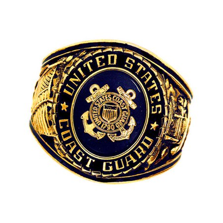 Official US Coast Guard Deluxe Engraved Gold Color Ring