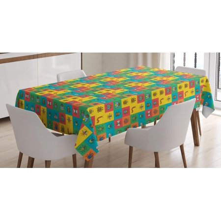 Colorful Tablecloth, Cartoon Image of Bugs as Bumblebee Ladybug Mosquito Dung Bettle in Square Tiles, Rectangular Table Cover for Dining Room Kitchen, 60 X 84 Inches, Multicolor, by Ambesonne