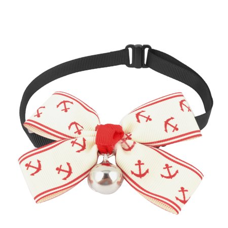 Unique Bargains Anchor Pattern Bell Accent Pet Dog Cat Adjustable Bowknot Collar White (Pkt Accent)
