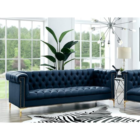 Peter Navy PU Leather Sofa   Button Tufted   Goldtone Nailhead Trim and  Y-legs   by Inspired Home