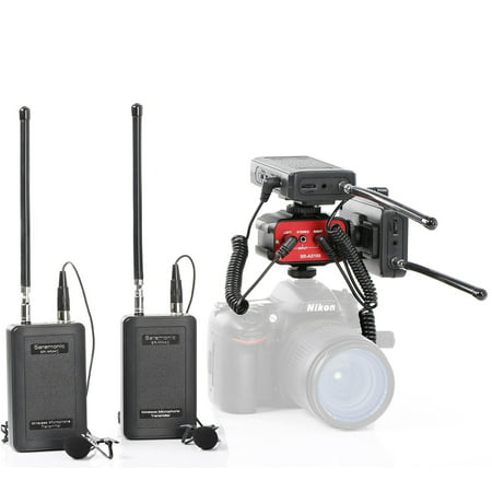 Saramonic Dual Wireless VHF Lavalier Microphone Bundle with 2 Transmitters, 2 Receivers and Audio Mixer for DSLR