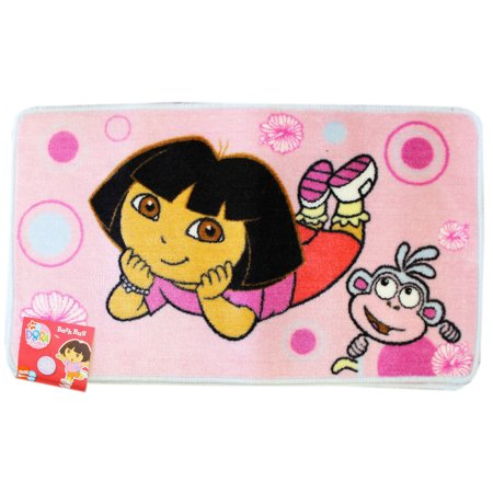 Dora the Explorer Dora and Boots Flower Power Pink Colored Bath Rug