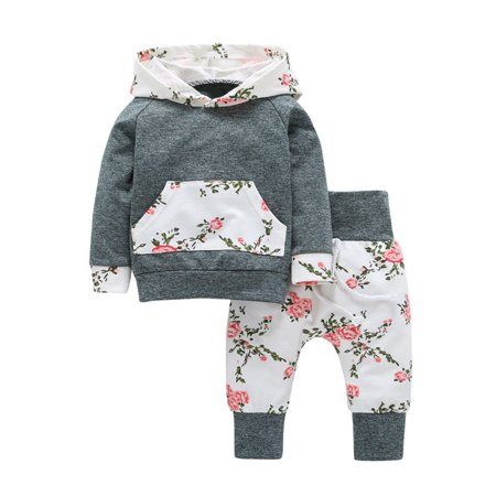 Newborn Baby Girl Clothes Hoodie Tops T-shirt+Cotton Pants 2pcs Suit Cute Spring Autumn Floral Clothing Set Size:Seventy (Toddler Girl Spring Clothes)