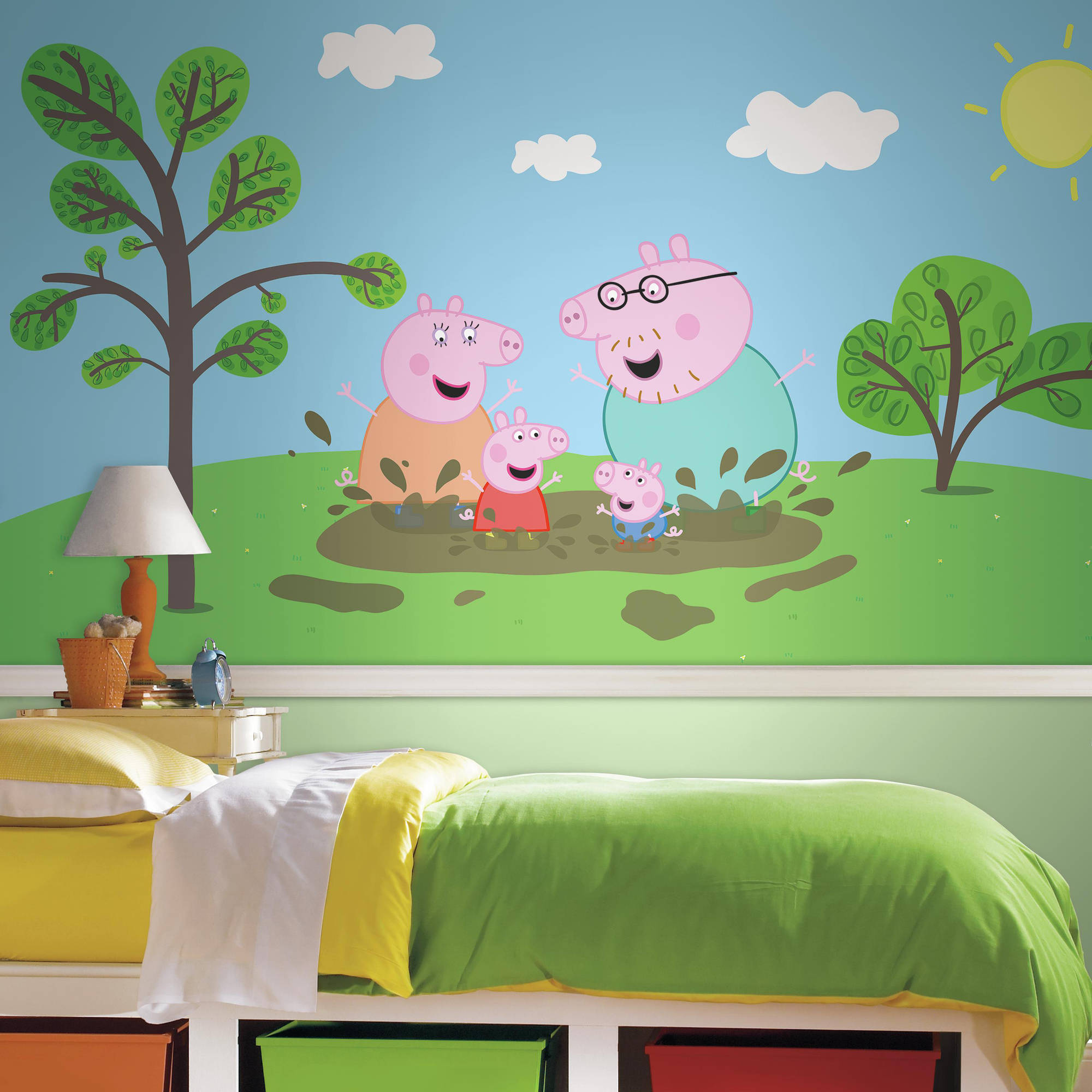 RoomMates Decor Peppa the Pig XL Chair Rail Prepasted Mural, 6' x 10.5', Ultra-Strippable