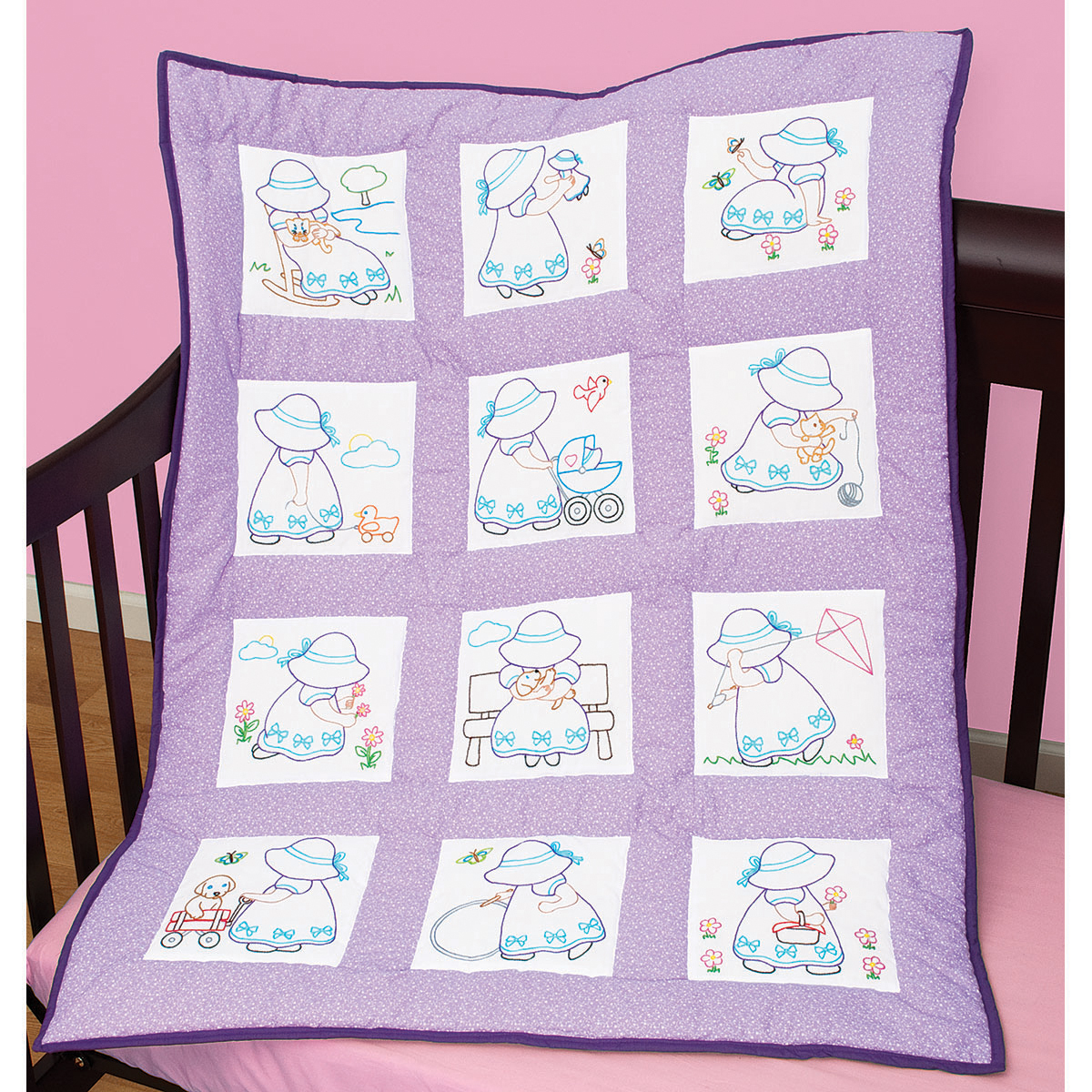 "Stamped White Nursery Quilt Blocks 9""X9"" 12/Pkg-Sunbonnet Sue"