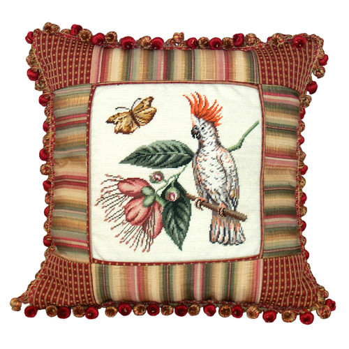 123 Creations Nature Petit Point Wool Throw Pillow