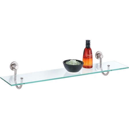 Glass Shelf Bathroom Shelving (Neu Home Glass Shelf with Satin Nickel Mounts)
