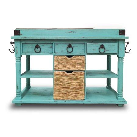 Eagle Furniture Corina Kitchen Island With Basket And Open Storage
