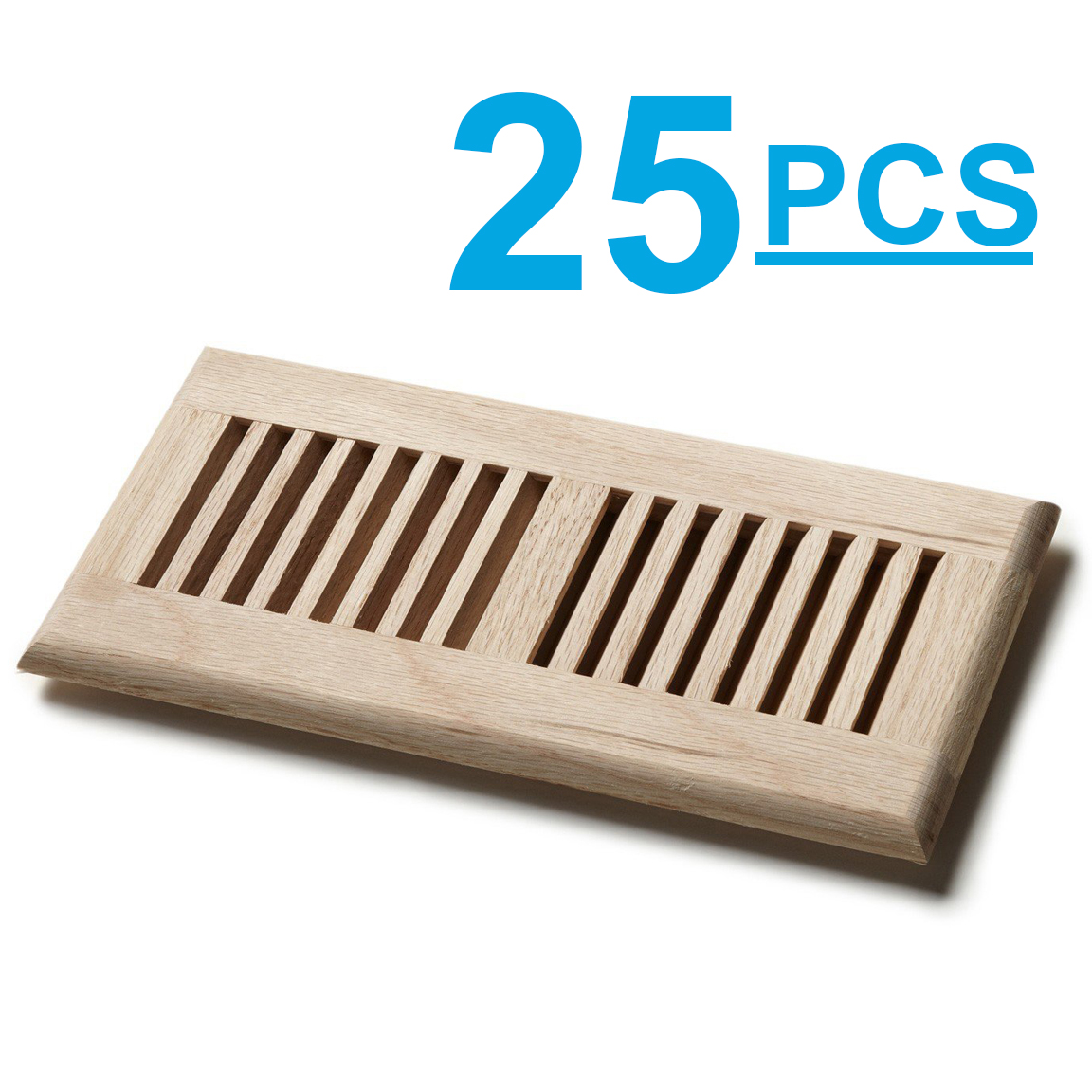 "Venice 25pc Wooden 4""x10"" Red Oak Wood Vent Floor Self Rimming Unfinished Damper"