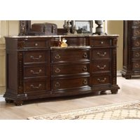 McFerran B9500-D Amber Dark Cherry Finish French 11-drawer Dresser w/Marble Top