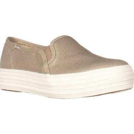 324f0061c10 Keds - Womens Keds Triple Decker Platform Slip On Fashion Sneakers -  Metallic Gold - Walmart.com