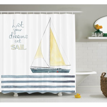 Inspirational Shower Curtain Set Let Your Dreams Set Sail Quote Stripes Yacht Interior