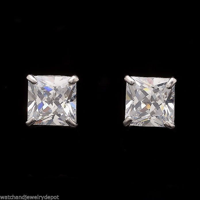 5CT Princess Cut Created Diamond Earrings Solitaire Square Studs 14K White Gold