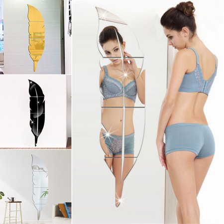 Stylish Modern 3D Wall Sticker Feather Shape Mirror DIY Decal Home Room Art Mural Decor Removable Sticker Art Shapes