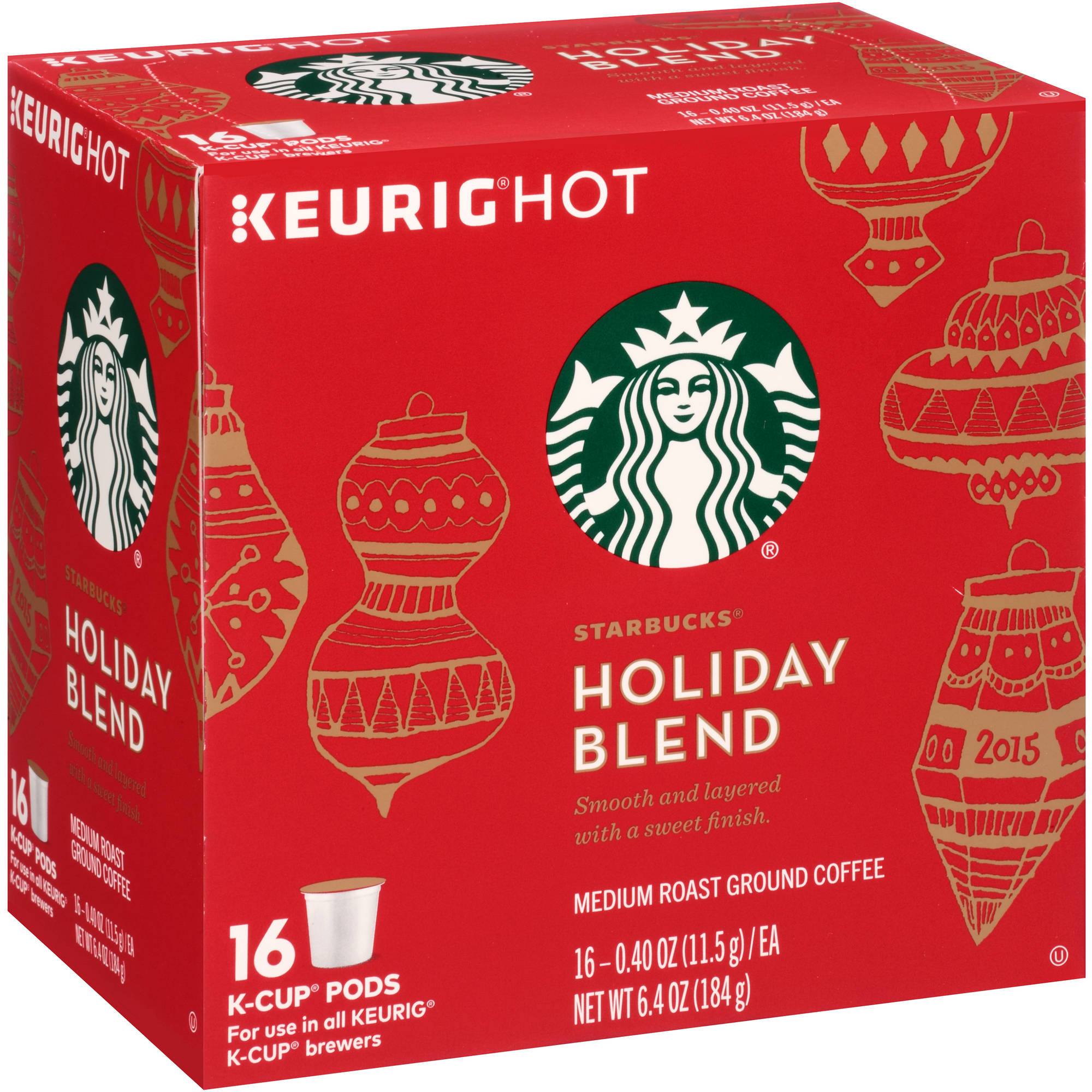 Starbucks Holiday Blend Medium Roast Ground Coffee K-Cup Pods, 0.40 oz, 16 count