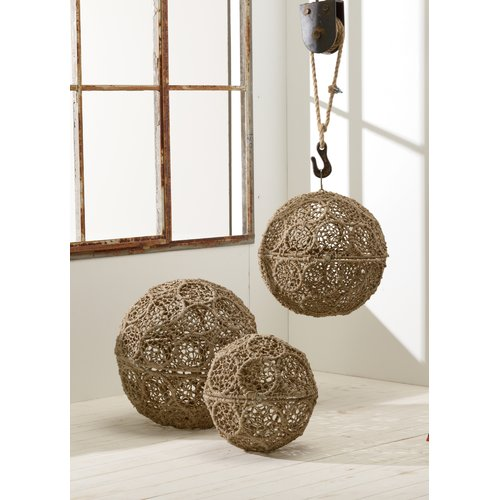 Kindwer 3 Piece Jute Wrapped Iron Decorative Ball Set