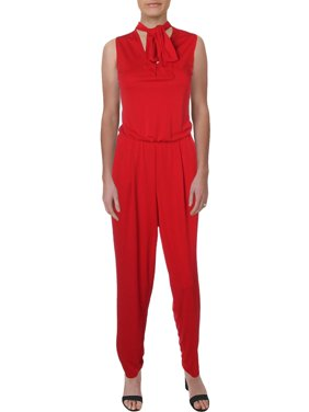 RALPH LAUREN Womens Red Sleeveless Tie Neck Straight leg Jumpsuit  Size: XS