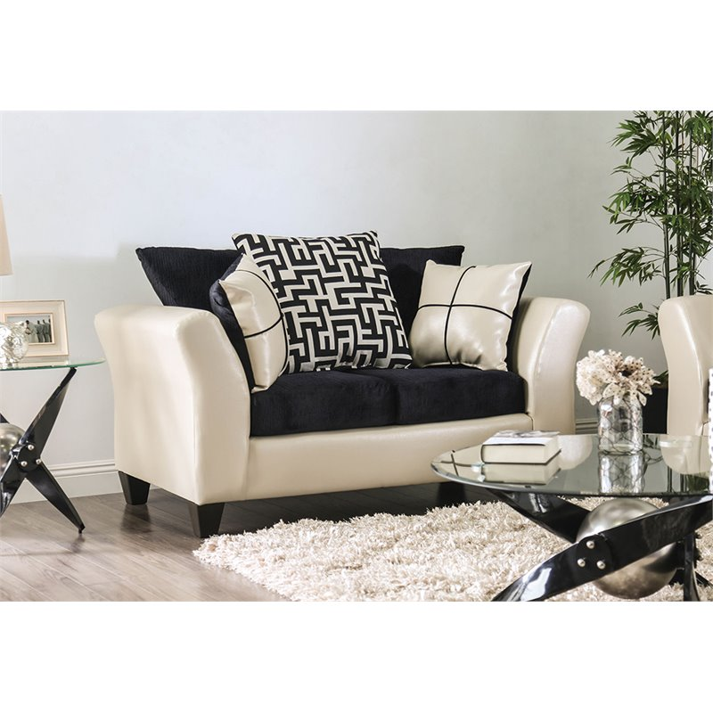 Furniture of America Jazzy Faux Leather Loveseat in Ivory and Black