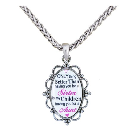 "Only Thing Better Than Sister Children Aunt Silver Plate 30"" Necklace Jewelry Gift"