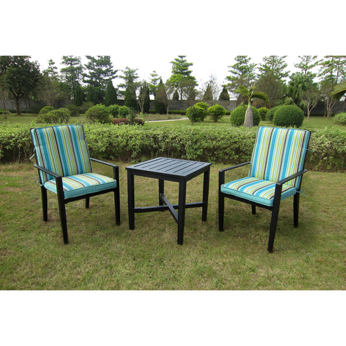 Mainstays Rockview 3-Piece Outdoor Bistro Set, Black, Seats 2