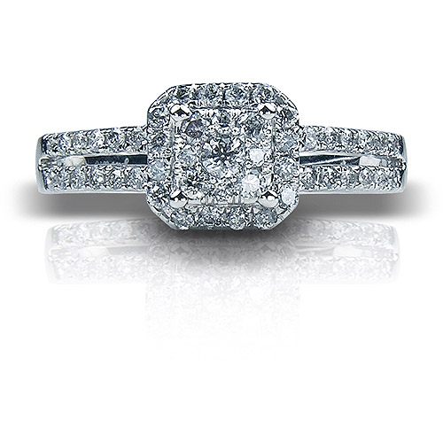 1/2 Carat T.W. Cushion Diamond 10kt White Gold Engagement Ring