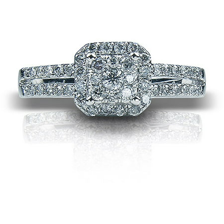1/2 Carat T.W. Cushion Diamond 10kt White Gold Engagement (Carats Cushion Engagement Ring)
