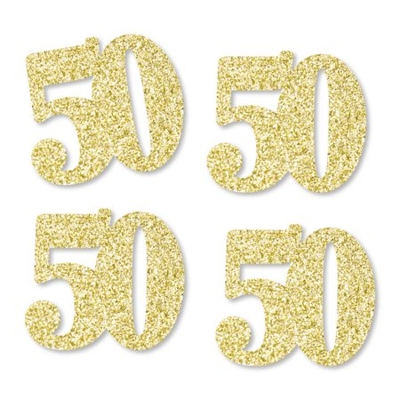 50th Party Supplies (Gold Glitter 50 - No-Mess Real Gold Glitter Cut-Out Numbers - 50th Birthday Party Confetti - Set of)
