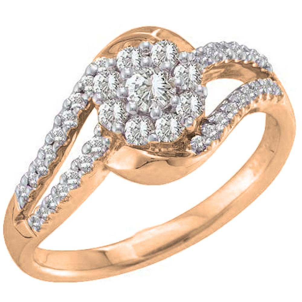 0.55 Carat (ctw) 18K Rose Gold Round White Diamond Ladies Split Shank Bridal Halo Engagement Ring 1/2 CT