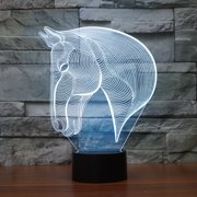 3D LED Horse Animal Touch Sensor Lamp with USB 7 Color Changing Light for Night Table Kids Bedroom Decor Gift Holiday