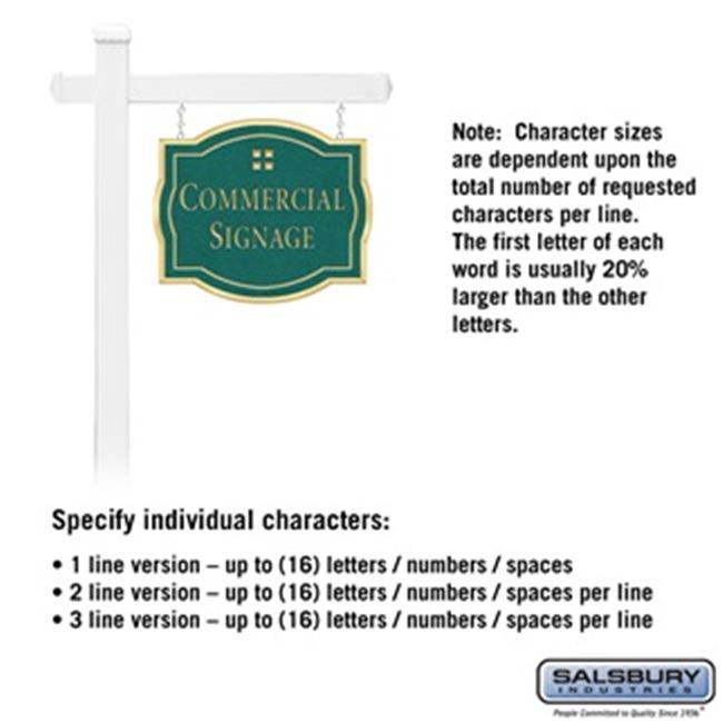 Salsbury 1541JGG1 1 Sided Classic White Post Commercial Sign with Gold Characters, Jade Green Sign - Grid