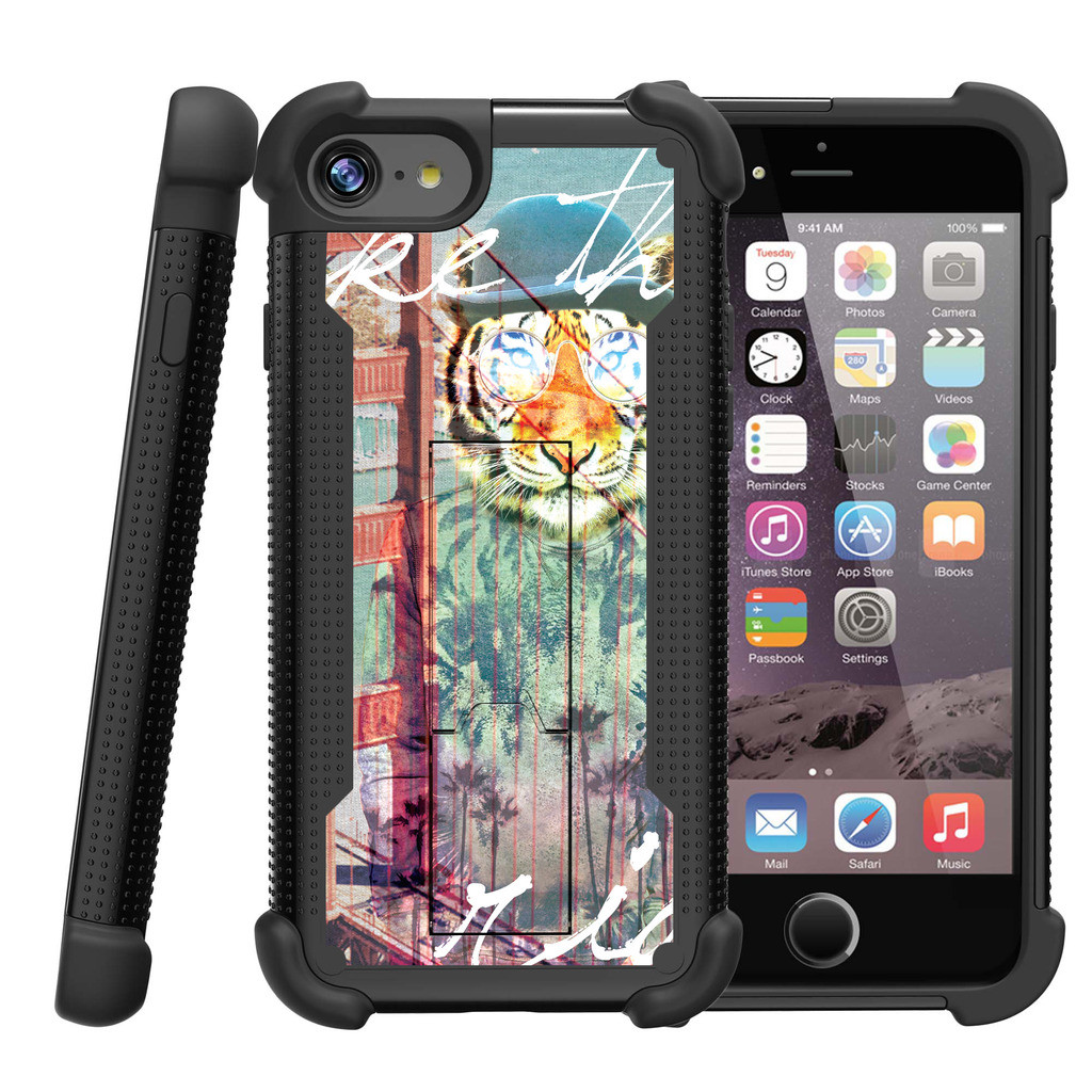 "Apple iPhone 7 4.7"" Shockwave Armor Dual Layer Kicsktand Case - Hipster Tiger"