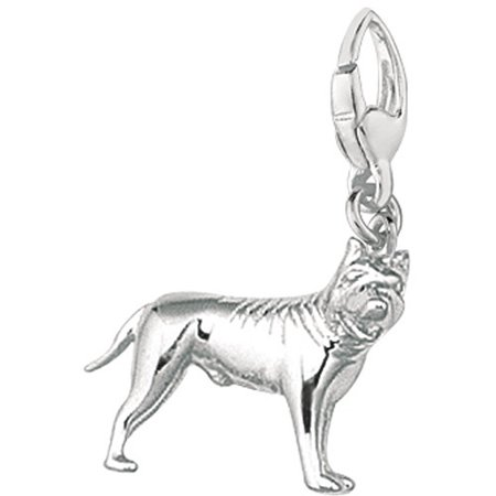 Women's Sterling Silver American Pit Bull Terrier Dog Clip-On Charm