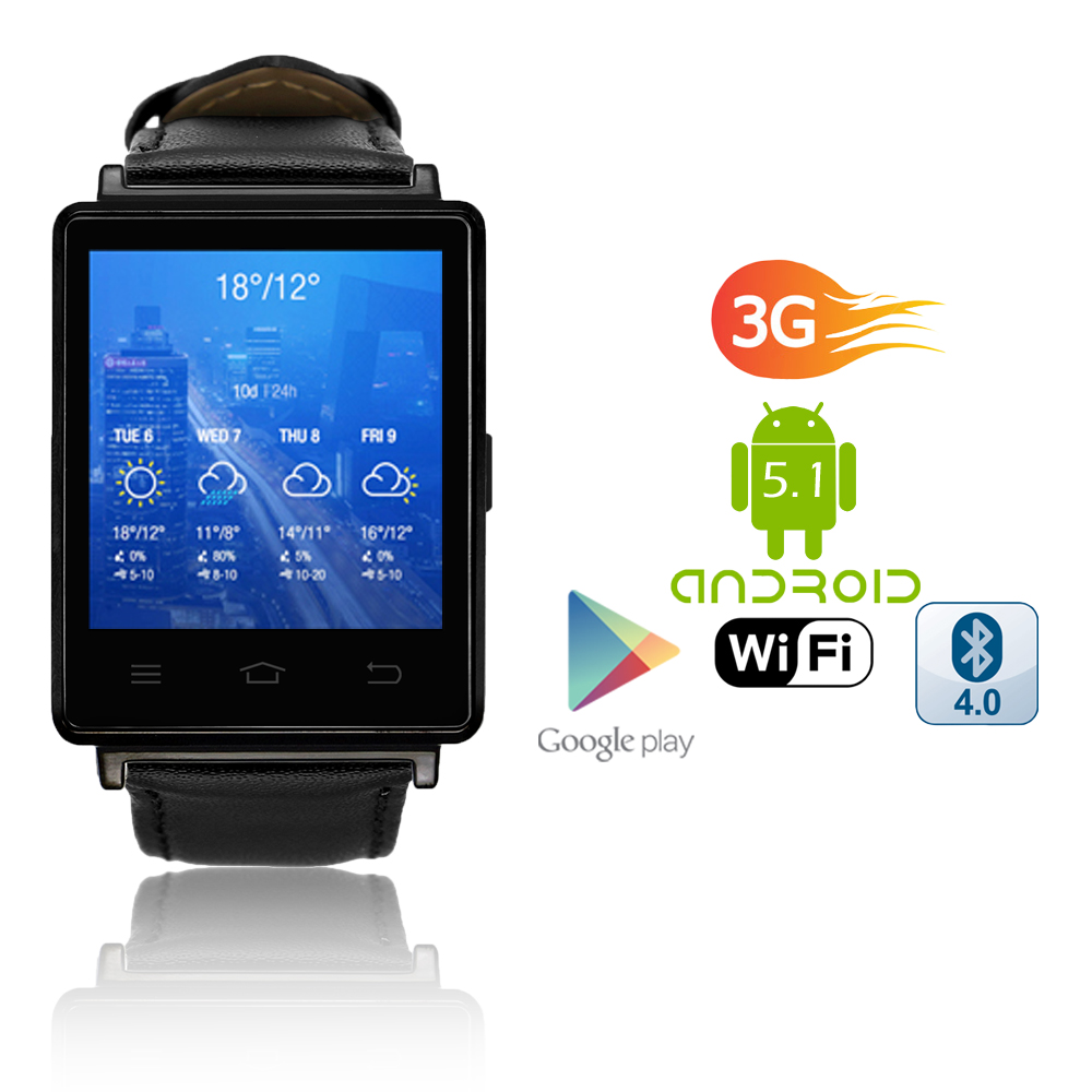 Indigi® 2017 Android 5.1 3G Unlocked SmartWatch & Phone WiFi + GPS(Maps) + Heart Rate Monitor +