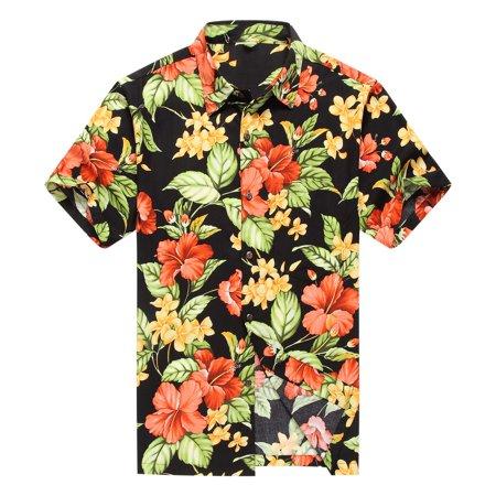 756d14bb1 Hawaii Hangover - Made in Hawaii Men's Hawaiian Shirt Aloha Shirt Red  Hibiscus with Green Leaf in Black - Walmart.com