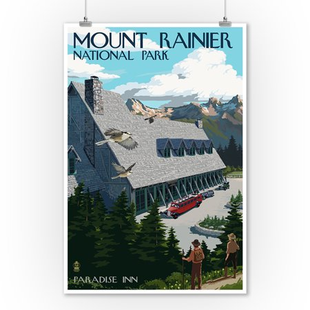 Mount Rainier National Park, Washington -  Paradise Inn - Lantern Press Artwork (9x12 Art Print, Wall Decor Travel Poster)
