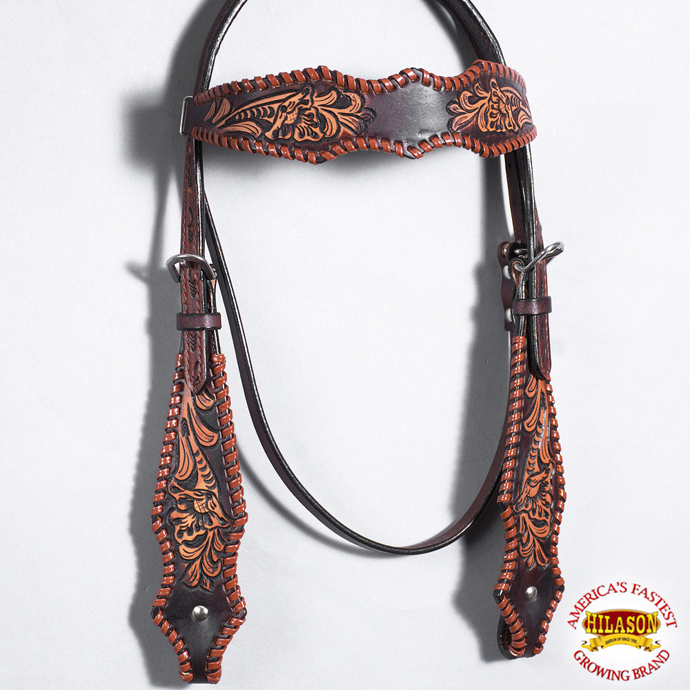 HILASON WESTERN AMERICAN LEATHER BRIDLE HEADSTALL  FLORAL DESIGN DARK BROWN