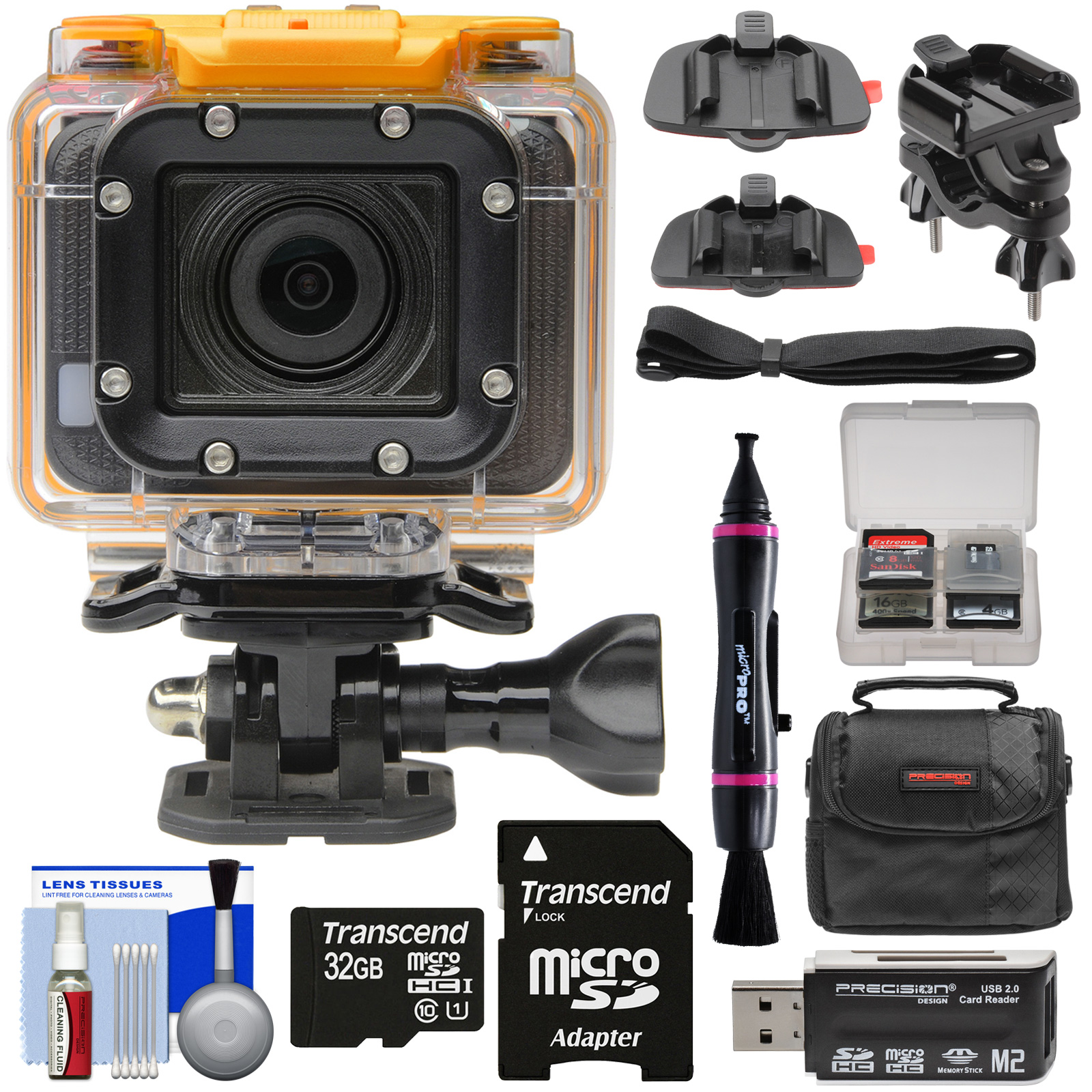 HP AC300w 1080p HD Wi-Fi Action Camera Camcorder - Refurbished with Action Mounts + 32GB Card + Case + Kit