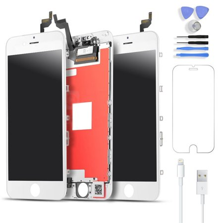 Broken Screen (iPhone 6s Screen Repair Kit w/ Tools (White) LCD Touch Screen Display Assembly and Replacement | Replace Cracked, Broken, Dead Pixels | Easy to Follow Youtube)