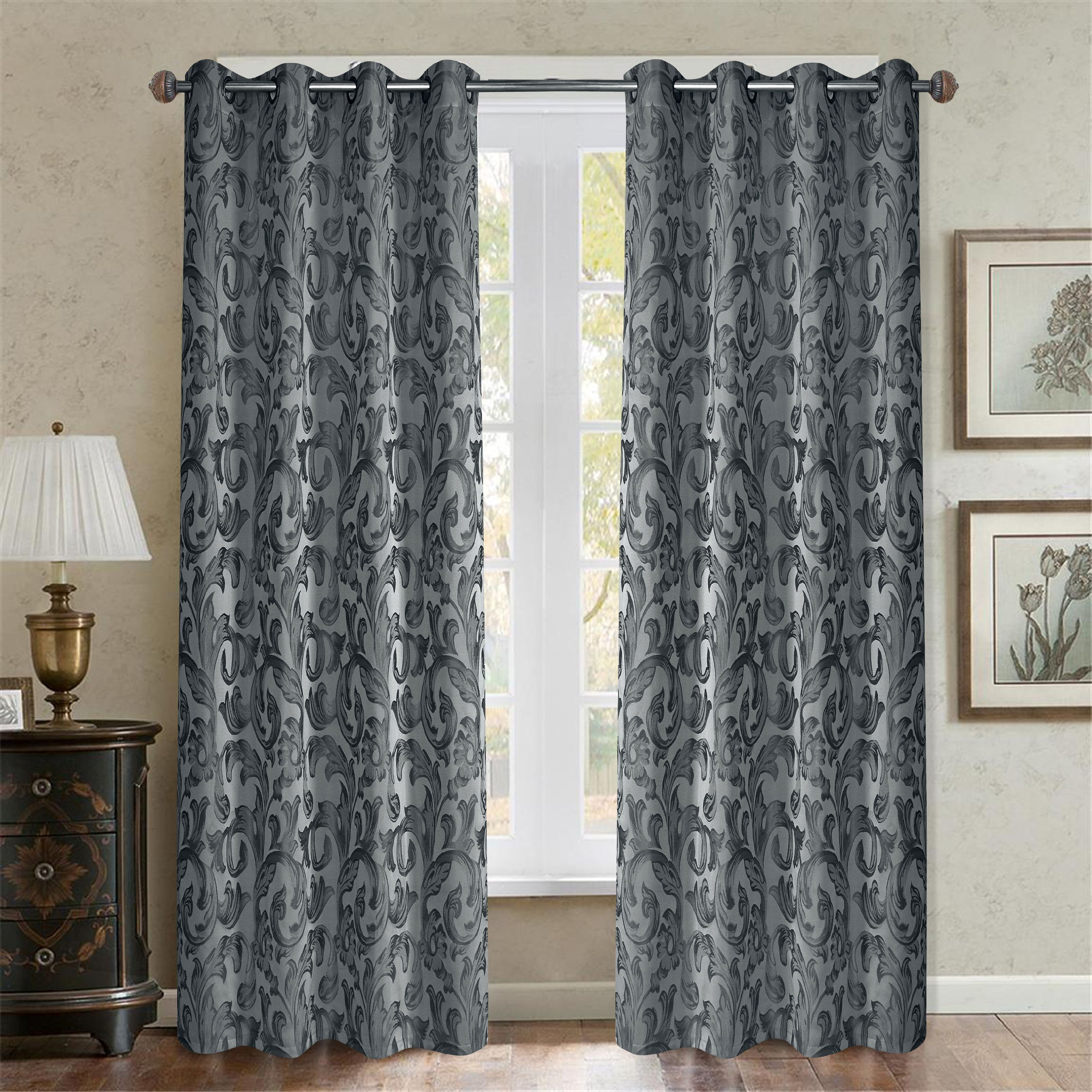 Casa Baroque Paisley Room Darkening Window Curtain Available In Multiple Colors And Sizes Walmart Com Walmart Com