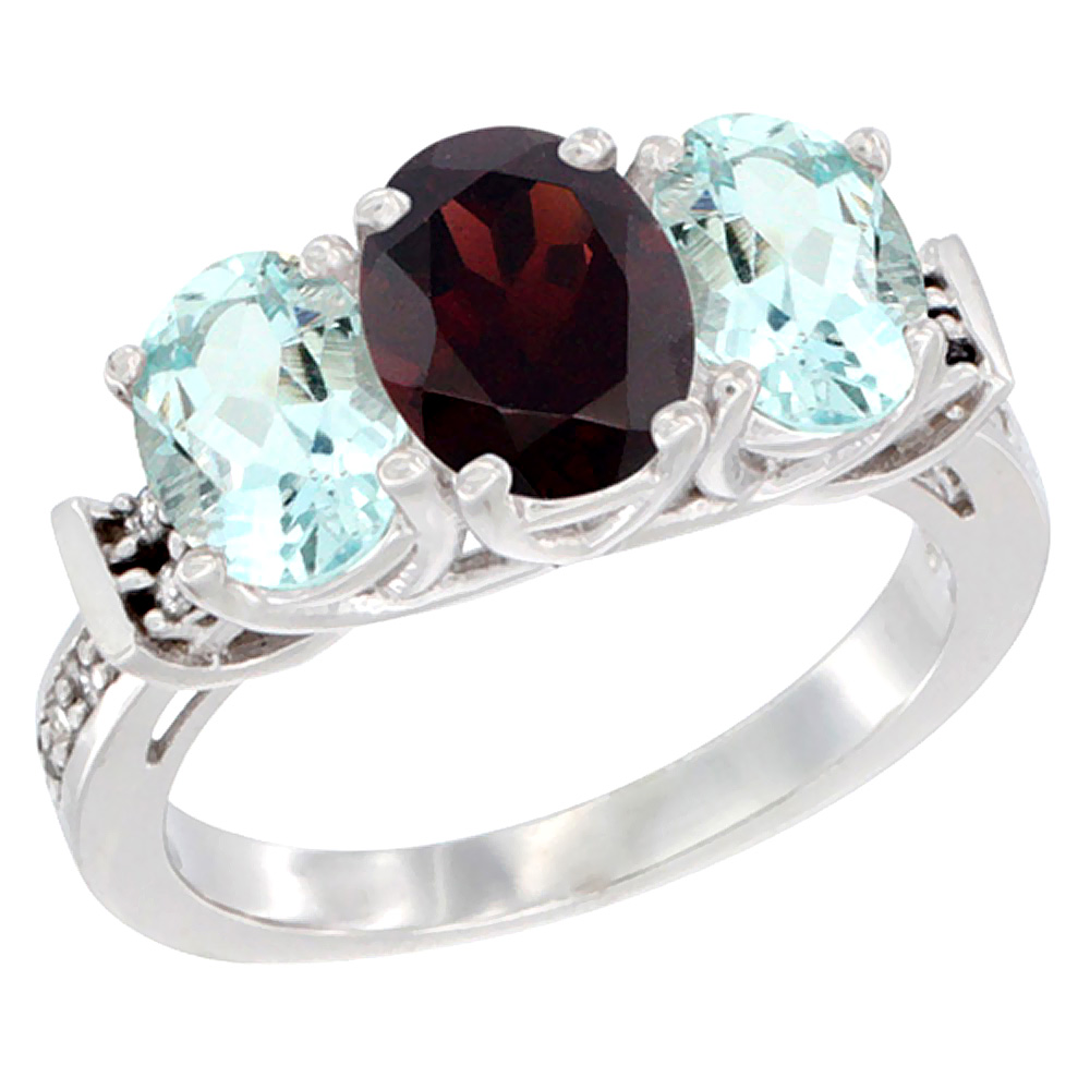 14K White Gold Natural Garnet & Aquamarine Sides Ring 3-Stone Oval Diamond Accent, sizes 5 10 by WorldJewels