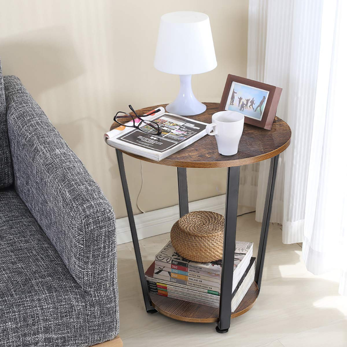 Round Side End Tables 2 Tier Bedside, Accent Tables For Living Room