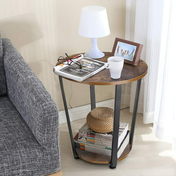 Round Side End Tables 2 Tier Bedside, Round End Tables With Storage For Living Room