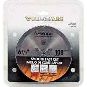 Vulcan Smooth Cut Circular Saw Blade, 6-1/2 In Dia, 108 Teeth, 5/8 In Arbor, Steel