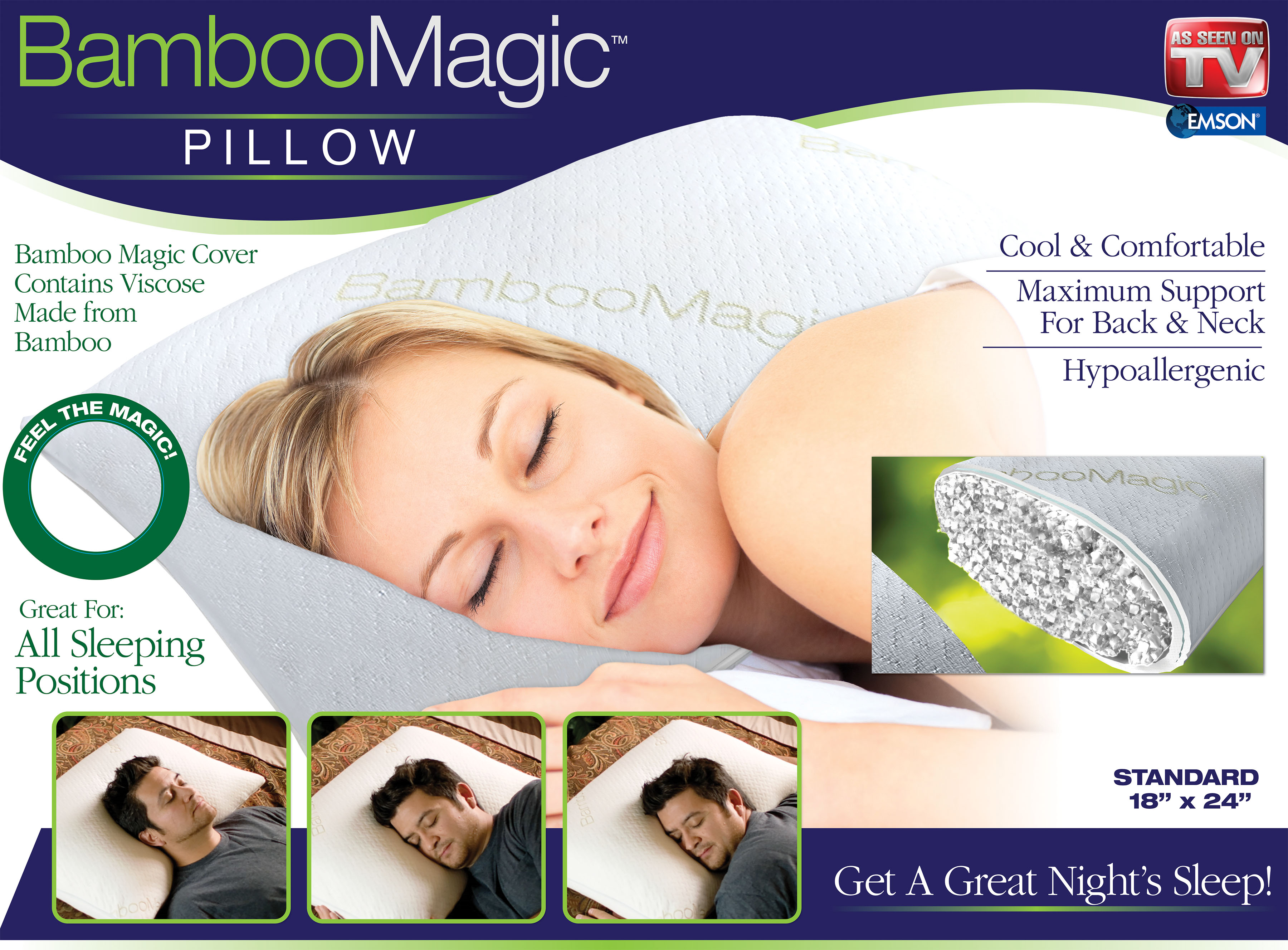 Bamboo Magic Memory Foam Pillow, Maximum Support for Back & Neck - Standard