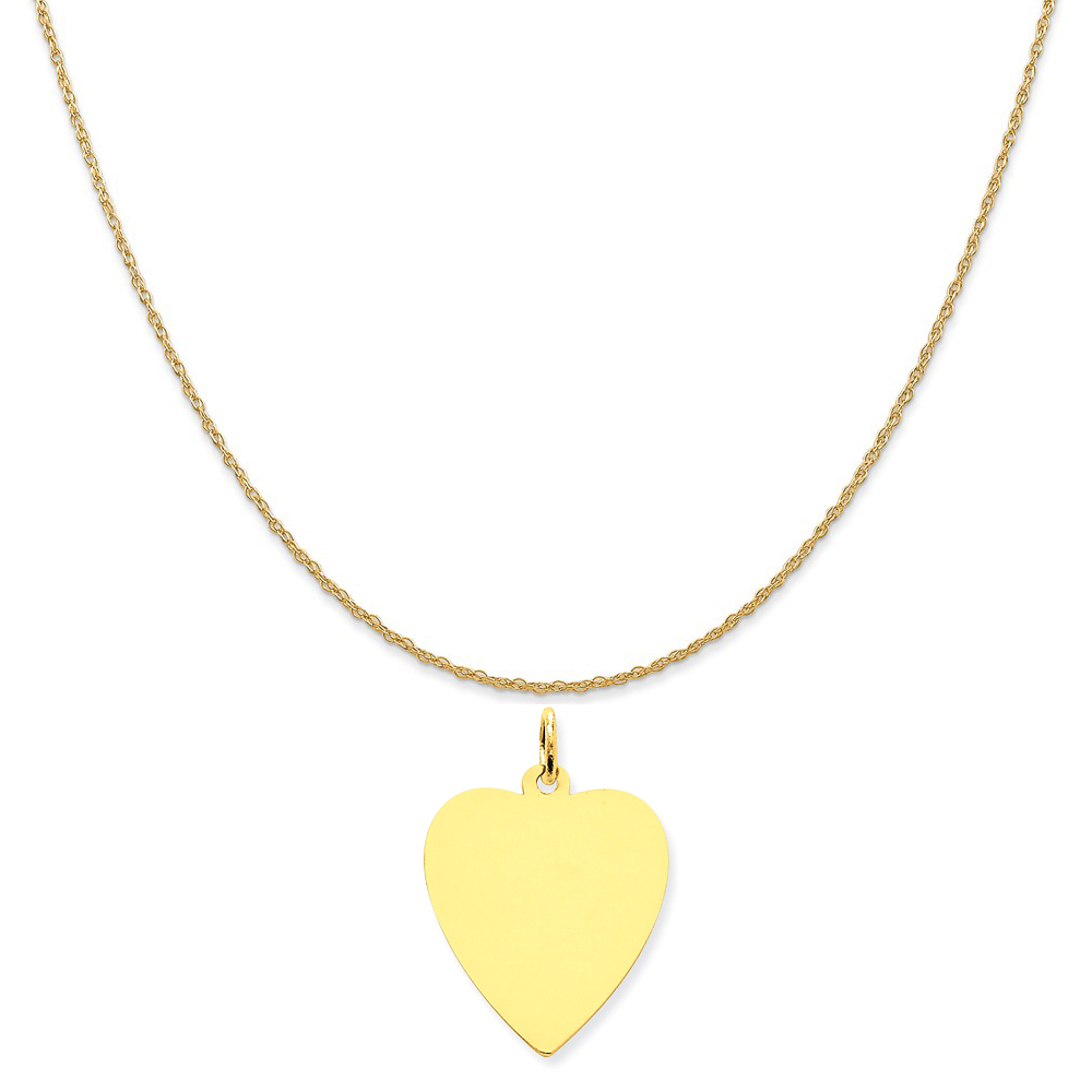 """14k Yellow Gold Plain .018 Gauge Engravable Heart Disc Charm on 14K Yellow Gold Rope Necklace, 18"""""""