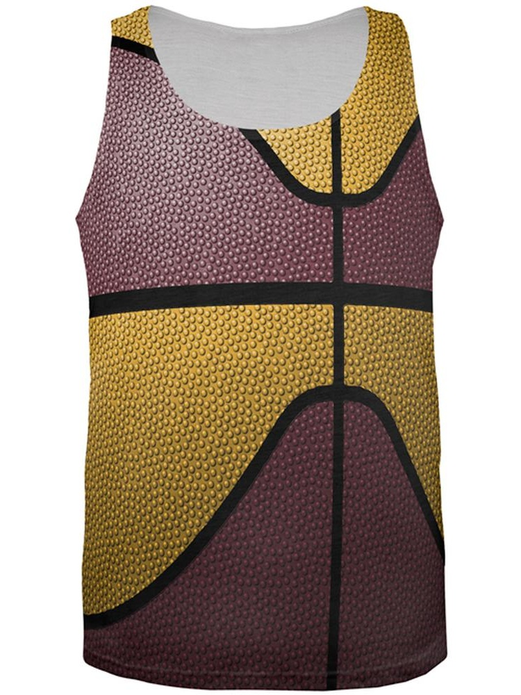 Championship Basketball Maroon and Gold All Over Mens Tank Top