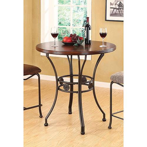Tavio Pub Height Dining Table with Wood Top and Metal Medallion Legs, Cherry