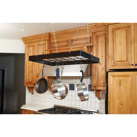 Gourmet Collection Pot Hooks - Fox Run  Black Square Pot Rack With Chrome Chains and Hooks